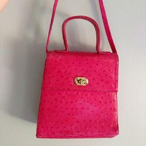 Vintage Pink Leather Turnlock Bag